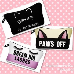 NEW Trio of 3 Cute Make-up Bags Purrrfect Pouches